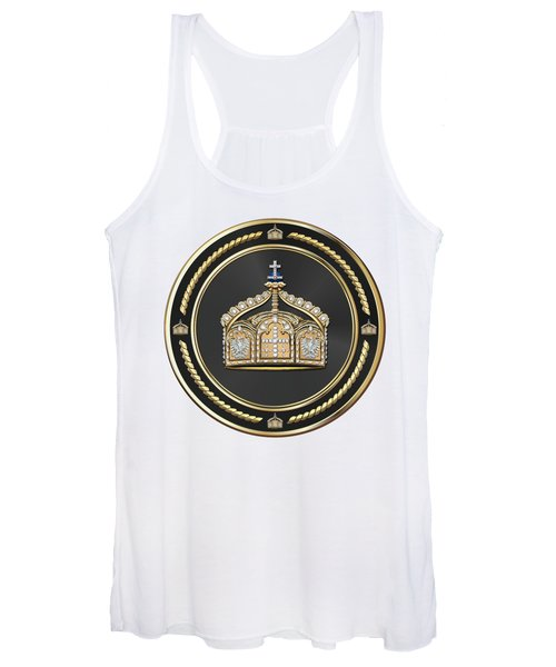 State Crown Of The German Empire Over White Leather  Women's Tank Top