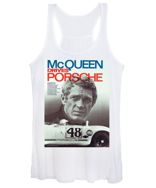 Steve Mcqueen Drives Porsche Women's Tank Top