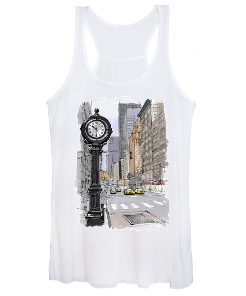 Street Clock On 5th Avenue Handmade Sketch Women's Tank Top