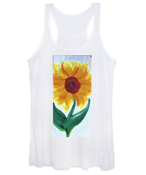 Women's Tank Top featuring the painting Sunflower 89 by Loretta Nash