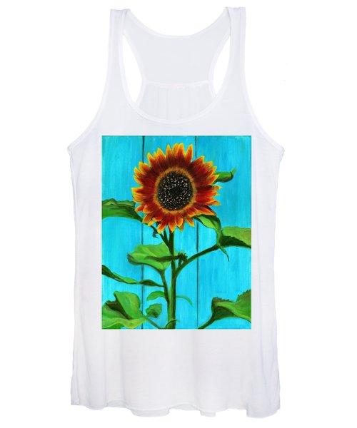 Sunflower On Blue Women's Tank Top