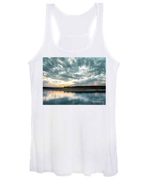 Sunset Behind Small Hill With Storm Clouds In The Sky Women's Tank Top