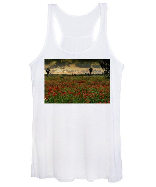 Sunset On A Poppies Field Women's Tank Top