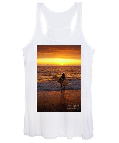 Sunset Surfer On Aberystwyth Beach Wales Uk Women's Tank Top