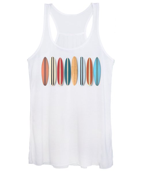Women's Tank Top featuring the digital art Surf Boards Row by Edward Fielding