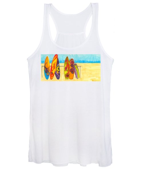 Surfing Buddies - Surf Boards At The Beach Illustration Women's Tank Top