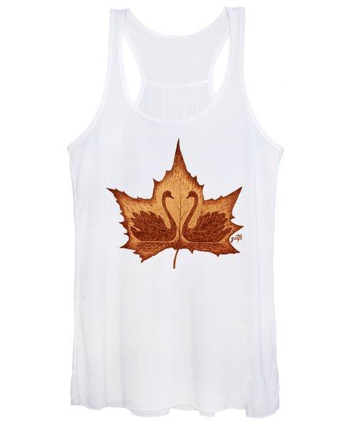 Swans Love On Maple Leaf Original Coffee Painting Women's Tank Top
