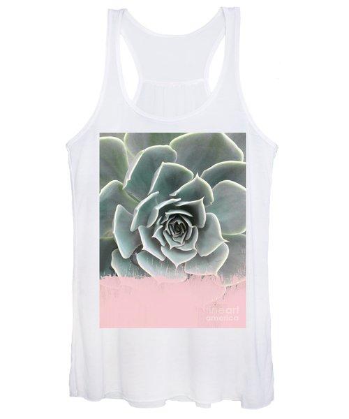 Sweet Pink Paint On Succulent Women's Tank Top
