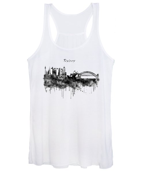 Sydney Black And White Watercolor Skyline Women's Tank Top