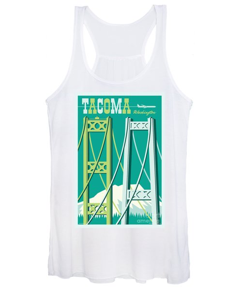 Tacoma Poster - Vintage Style Travel  Women's Tank Top