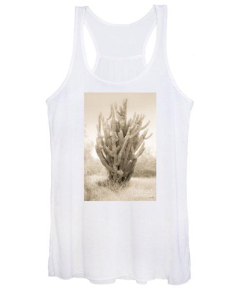 Tall Cactus In Sepia Women's Tank Top