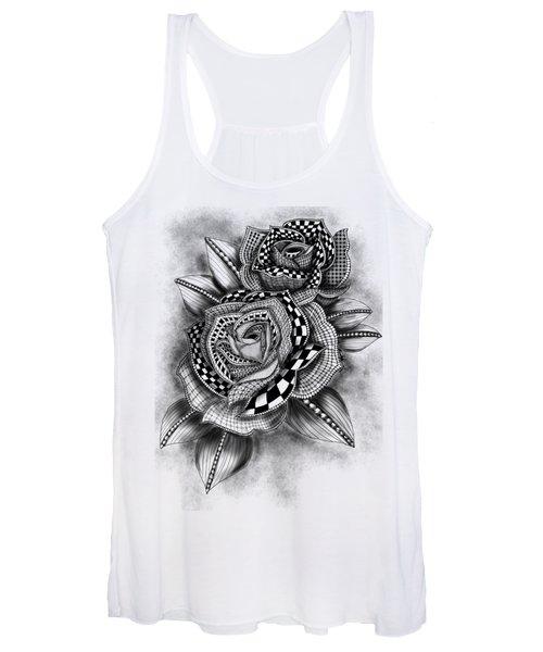 Tattoo Rose Greyscale Women's Tank Top