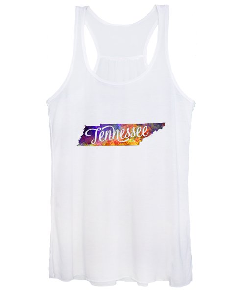 Tennessee Us State In Watercolor Text Cut Out Women's Tank Top