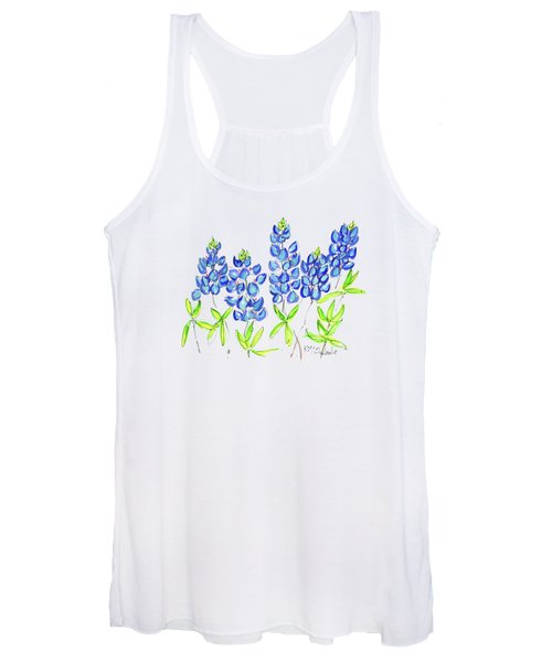 Texas Bluebonnets Watercolor Painting By Kmcelwaine Women's Tank Top