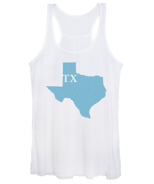 Texas State Map With Text Of Constitution Women's Tank Top