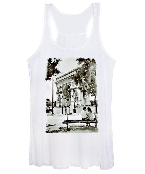 The Arc De Triomphe Paris Black And White Women's Tank Top