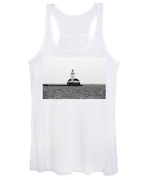 The Lighthouse Black And White Women's Tank Top