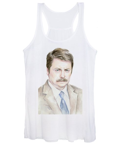 Ron Swanson Watercolor Portrait Women's Tank Top