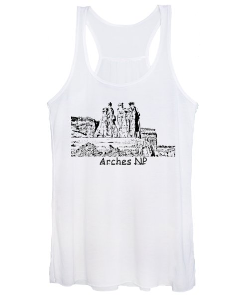 Three Gossips Drawing At Arches Women's Tank Top