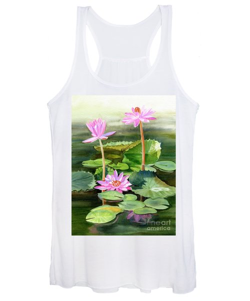 Three Pink Water Lilies With Pads Women's Tank Top