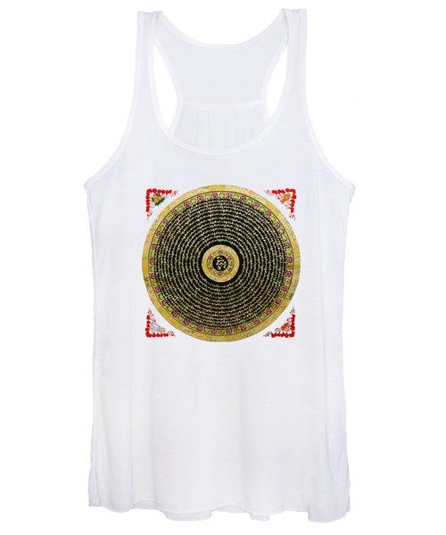 Tibetan Thangka - Om Mandala With Syllable Mantra Over White Leather Women's Tank Top