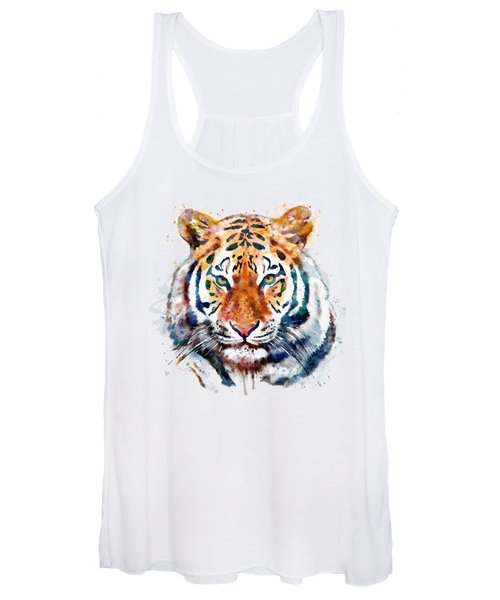 Tiger Head Watercolor Women's Tank Top