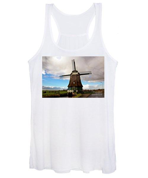 Traditional Dutch Windmill Near Volendam  Women's Tank Top
