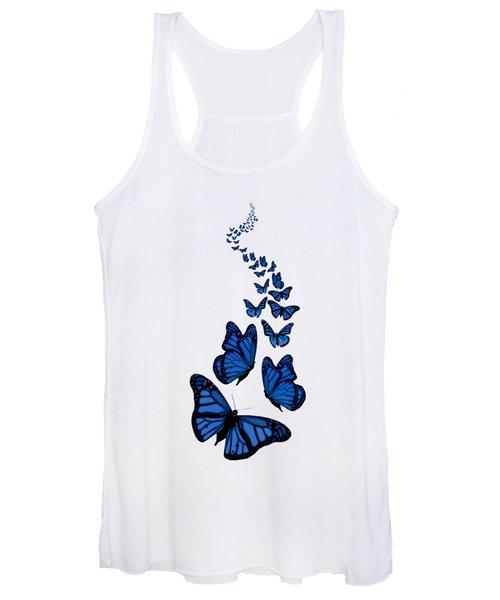 Trail Of The Blue Butterflies Transparent Background Women's Tank Top