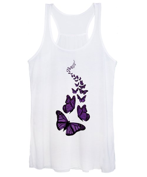 Trail Of The Purple Butterflies Transparent Background Women's Tank Top