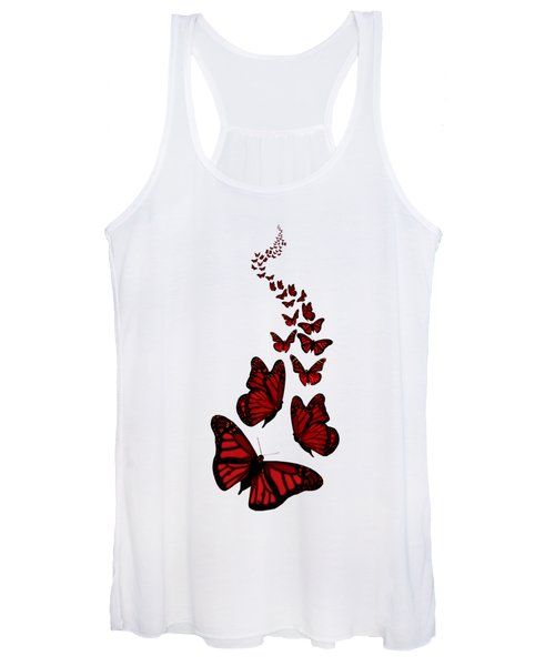 Trail Of The Red Butterflies Transparent Background  Women's Tank Top