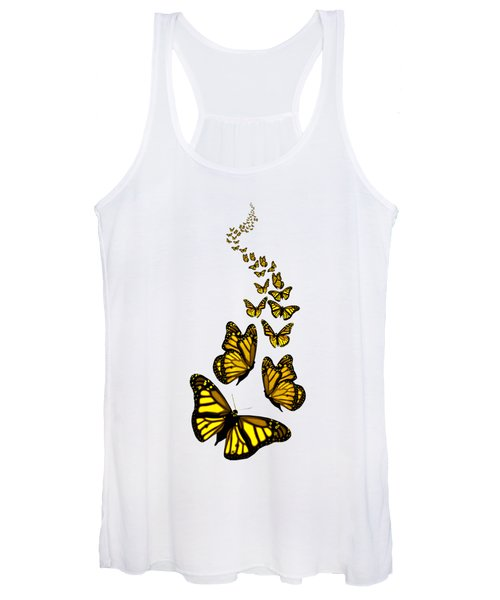 Trail Of The Yellow Butterflies Transparent Background Women's Tank Top