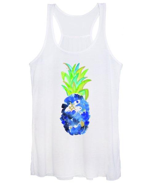 Tropical Cobalt Blue Pineapple Women's Tank Top