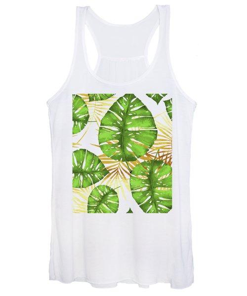 Tropical Haze Green Monstera Leaves And Golden Palm Fronds Women's Tank Top
