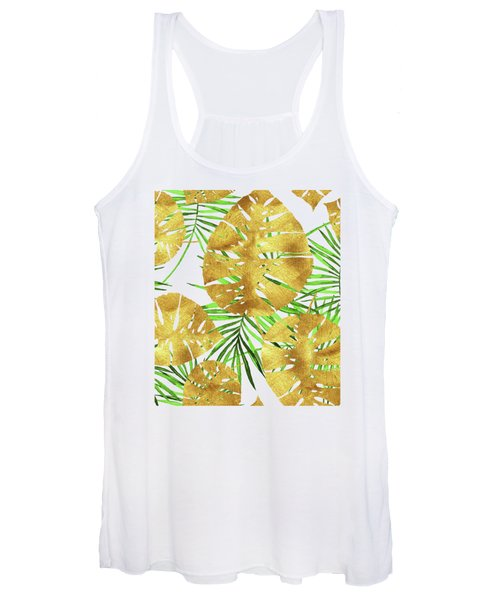 Tropical Haze II Gold Monstera Leaves And Green Palm Fronds Women's Tank Top