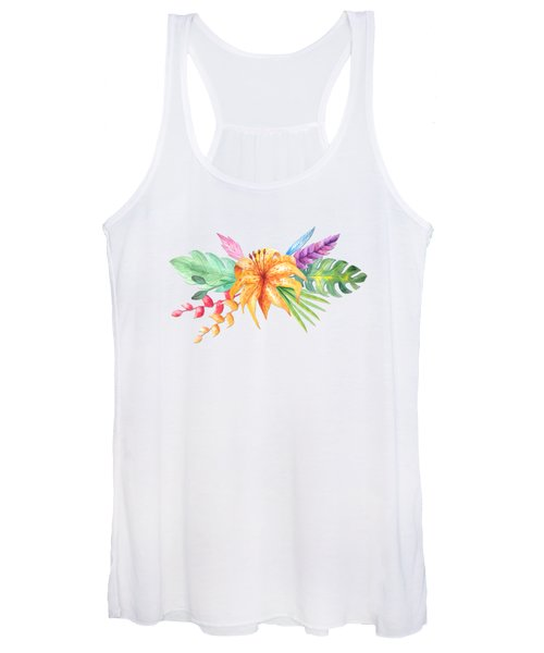 Tropical Watercolor Bouquet 4 Women's Tank Top