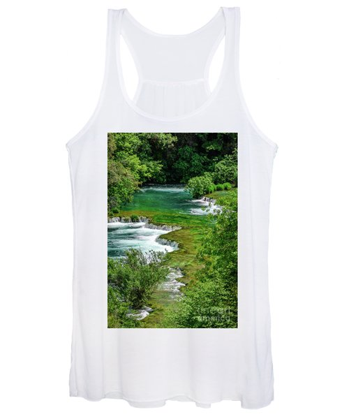 Turqouise Waterfalls Of Skradinski Buk At Krka National Park In Croatia Women's Tank Top