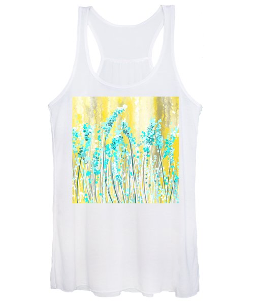 Turquoise And Yellow Women's Tank Top