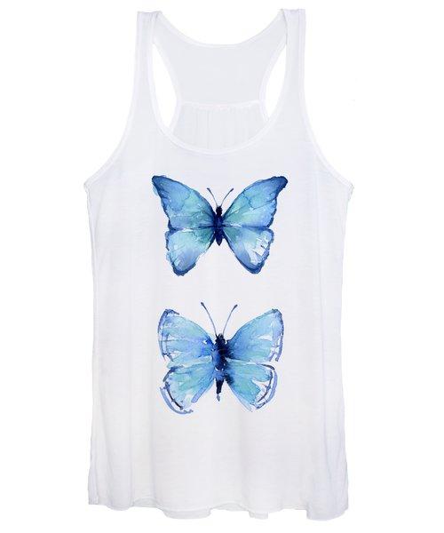 Two Blue Butterflies Watercolor Women's Tank Top