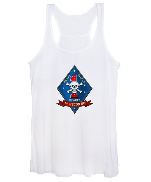 U S M C  1st Reconnaissance Battalion -  1st Recon Bn Insignia Over White Leather Women's Tank Top