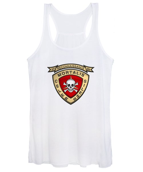 U S M C  3rd Reconnaissance Battalion -  3rd Recon Bn Insignia Over White Leather Women's Tank Top