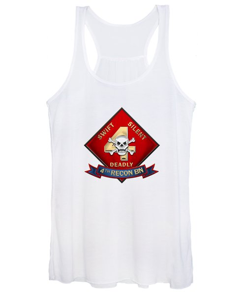 U S M C  4th Reconnaissance Battalion -  4th Recon Bn Insignia Over White Leather Women's Tank Top