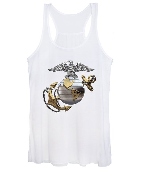 U S M C Eagle Globe And Anchor - C O And Warrant Officer E G A Over White Leather Women's Tank Top