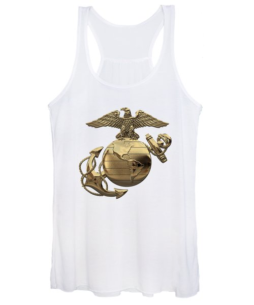 U S M C Eagle Globe And Anchor - N C O And Enlisted E G A Over White Leather Women's Tank Top