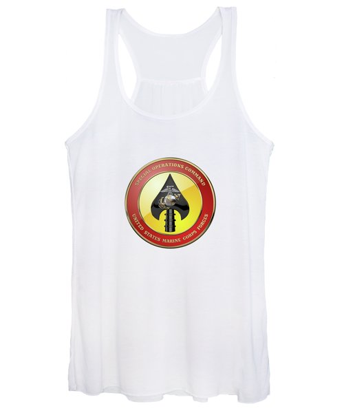 U S M C  Forces Special Operations Command -  M A R S O C  Seal Over White Leather Women's Tank Top