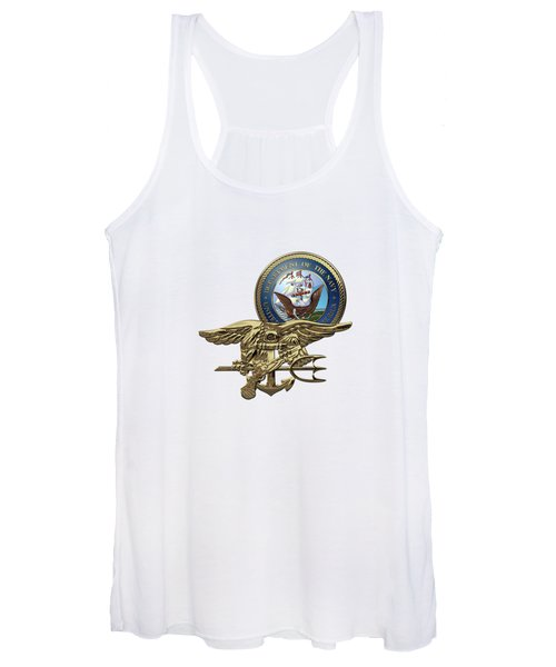 U. S. Navy S E A Ls Trident Over White Leather Women's Tank Top
