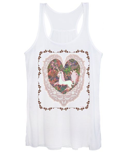Unicorn In A Pink Heart Women's Tank Top