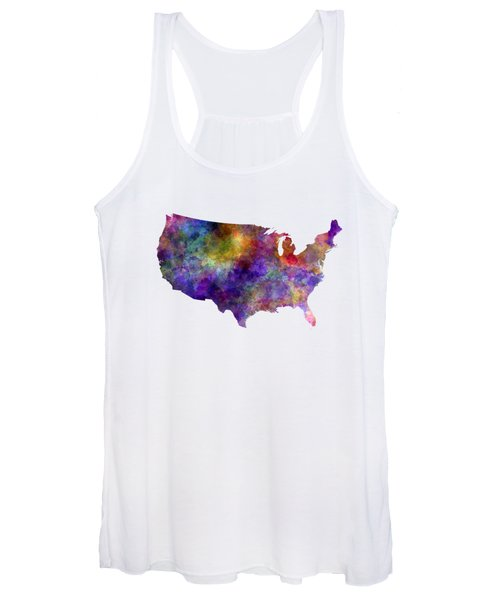 Usa Map In Watercolor  Women's Tank Top