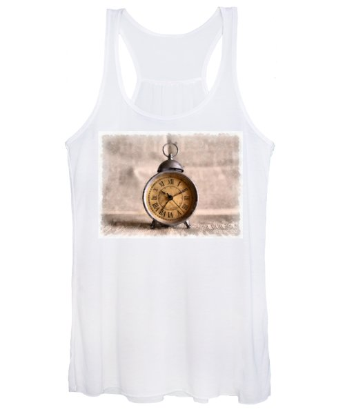 Vintage Alarm Clock Watercolor Women's Tank Top