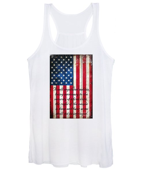 Vintage American Flag And 2nd Amendment On Old Wood Planks Women's Tank Top