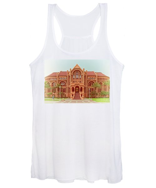 Vintage Architectural Photograph Of Ashbel Smith Old Red Building At Utmb - Downtown Galveston Texas Women's Tank Top